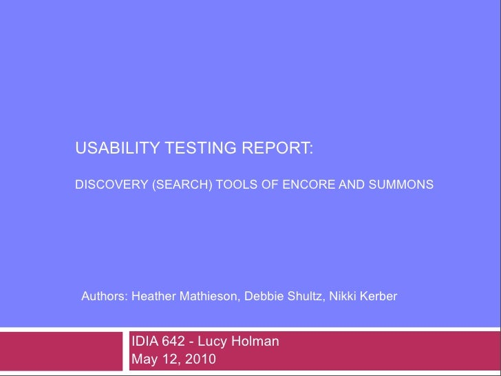 Usability Report - Discovery Tools