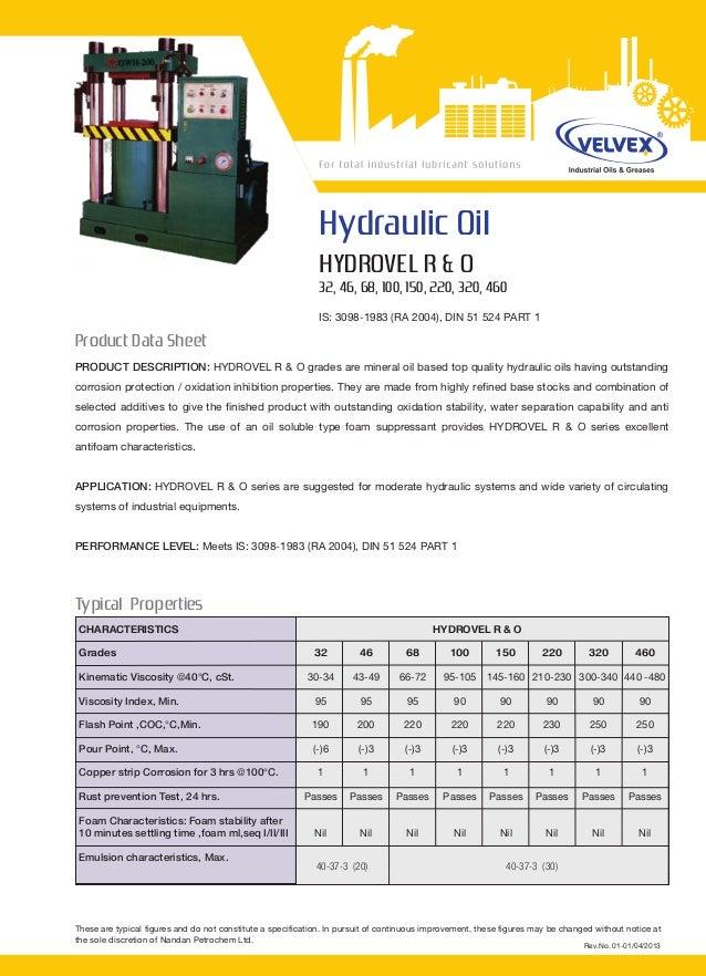Hydraulic OilHYDROVEL R & O32, 46, 68, 100, 150, 220, 320, 460IS: 3098-1983 (RA 2004), DIN 51 524 PART 1PRODUCT DESCRIPTIO...