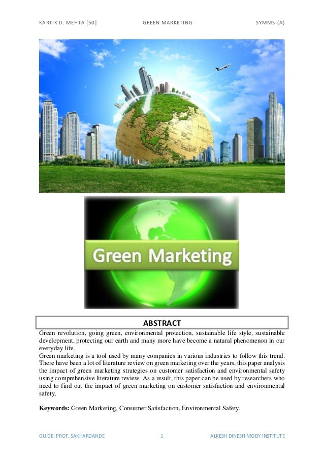 Dissertation report on green marketing