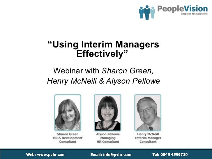 """"""" Using Interim Managers Effectively""""  Webinar with  Sharon Green, Henry McNeill & Alyson Pellowe"""