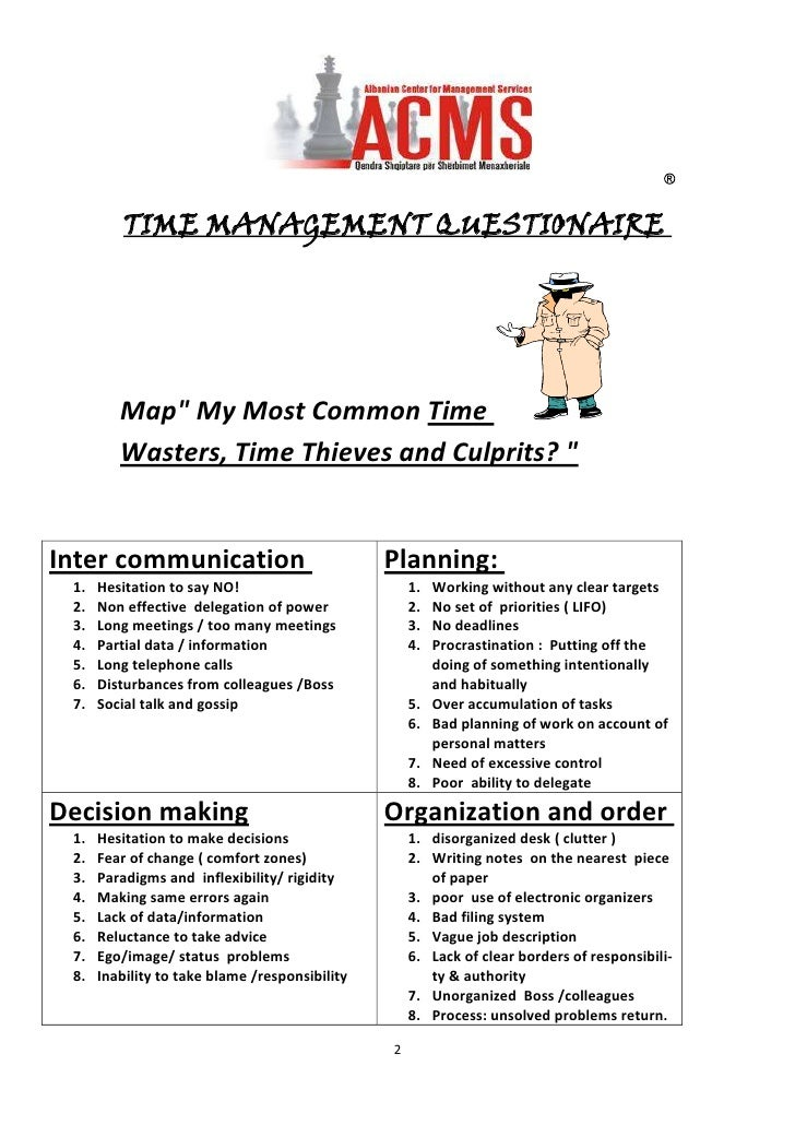 "TIME MANAGEMENT QUESTIONAIRE Map""  My Most Common Time Wasters, Time Thieves and Culprits? "" Planning: Working w..."