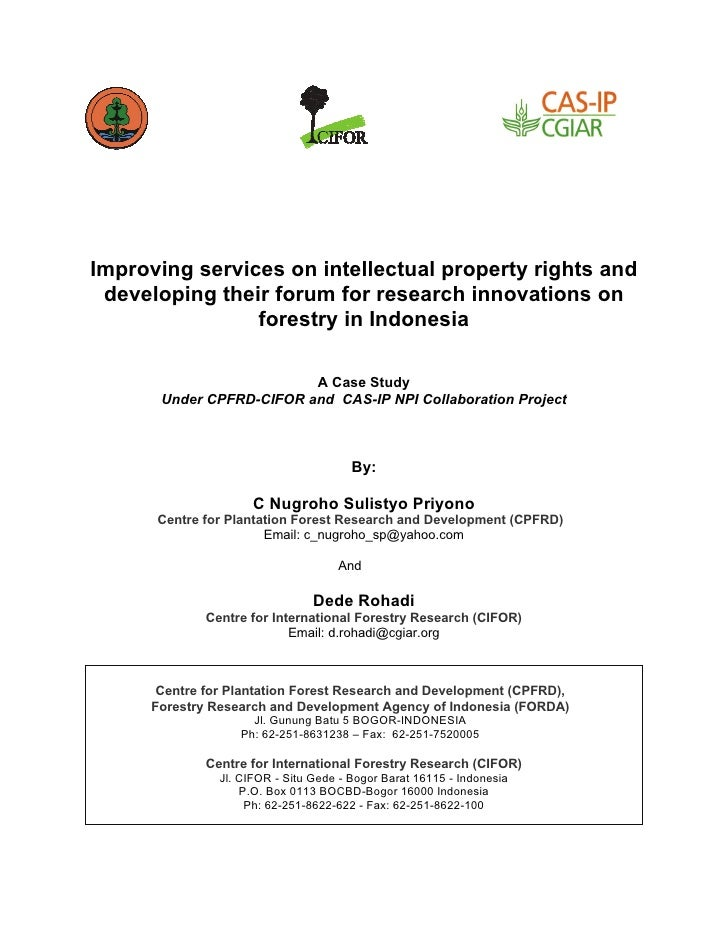 Improving services on intellectual property rights and  developing th...