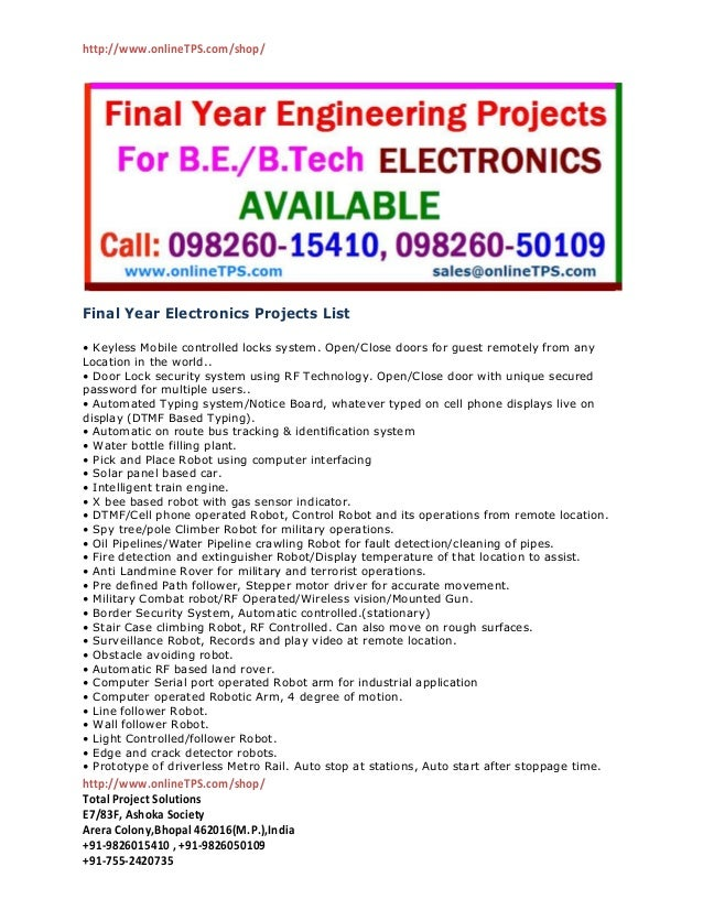 Final year electronics projects list