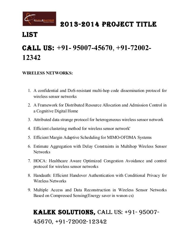 Final year project titles 2013 2014, Kalek Solutions