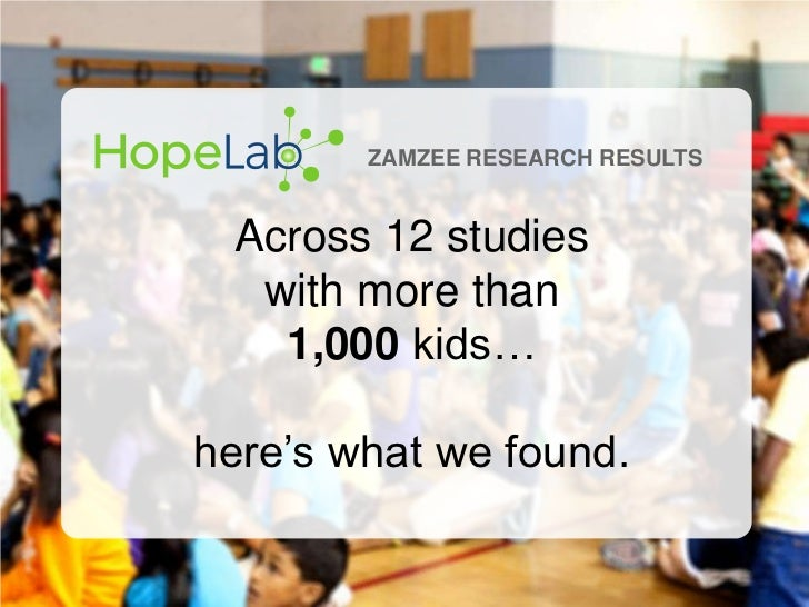 ZAMZEE RESEARCH RESULTS Across 12 studies  with more than   1,000 kids…here's what we found.                             h...