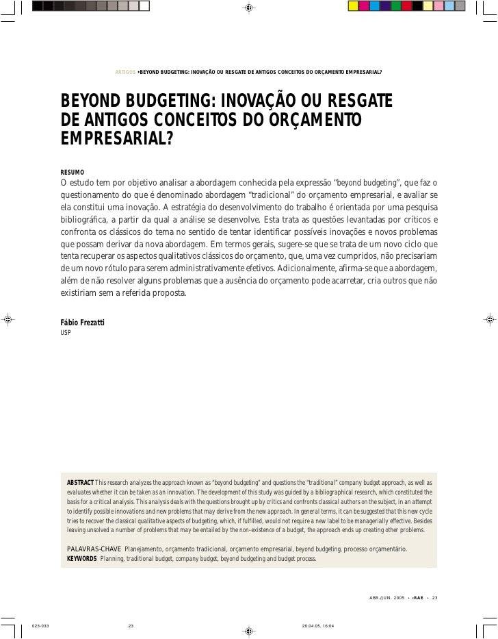 ARTIGOS • BEYOND BUDGETING: INOVAÇÃO OU RESGATEFREZATTI                                                                 FÁ...