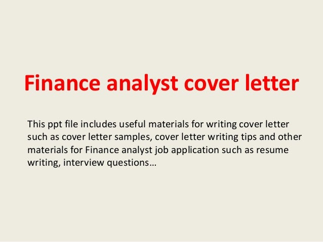 cover letter for financial analyst