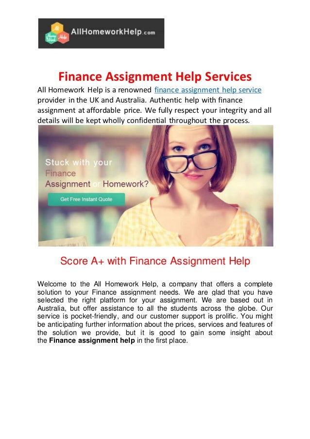 finance homework help online Business & finance homework help  thousands of online business & finance tutors are ready to help you with your business & finance homework.