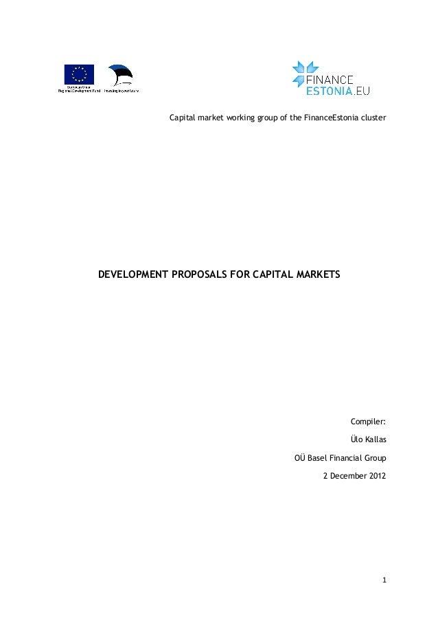 Finance estonia development proposals for capital markets