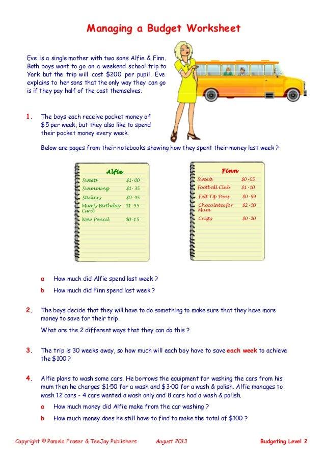 math worksheet : teejay maths lifeskills  budgeting level 2 : Teejay Maths Worksheets