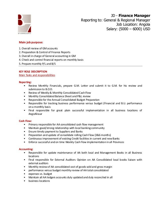 Financial Manager Job Description Sample Resume For Finance