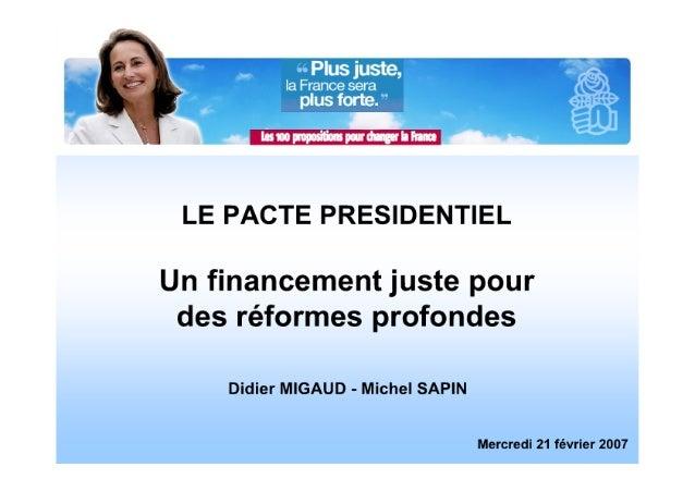 Financement du Pacte Présidentiel