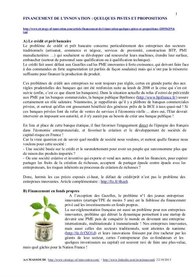1 FINANCEMENTDEL'INNOVATION:QUELQUESPISTESETPROPOSITIONS  http://www.strategyofinnovation.com/articlefina...