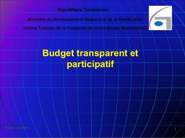 République Tunisienne                     Ministère du Développement Régional et de la Planification              Institut...