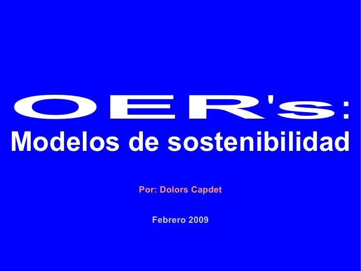OER's: Modelos de sostenibilidad