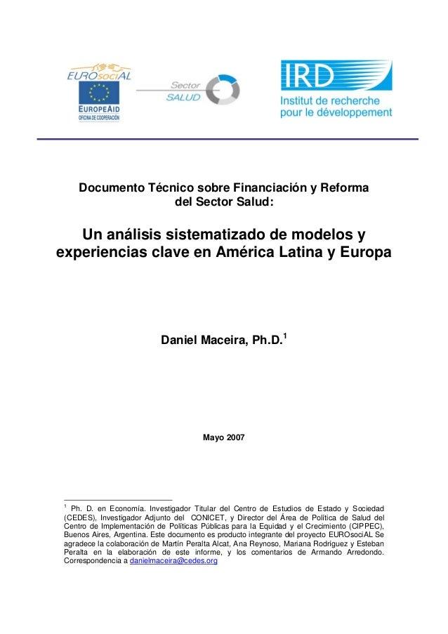 Documento Técnico sobre Financiación y Reforma del Sector Salud:  Un análisis sistematizado de modelos y experiencias clav...