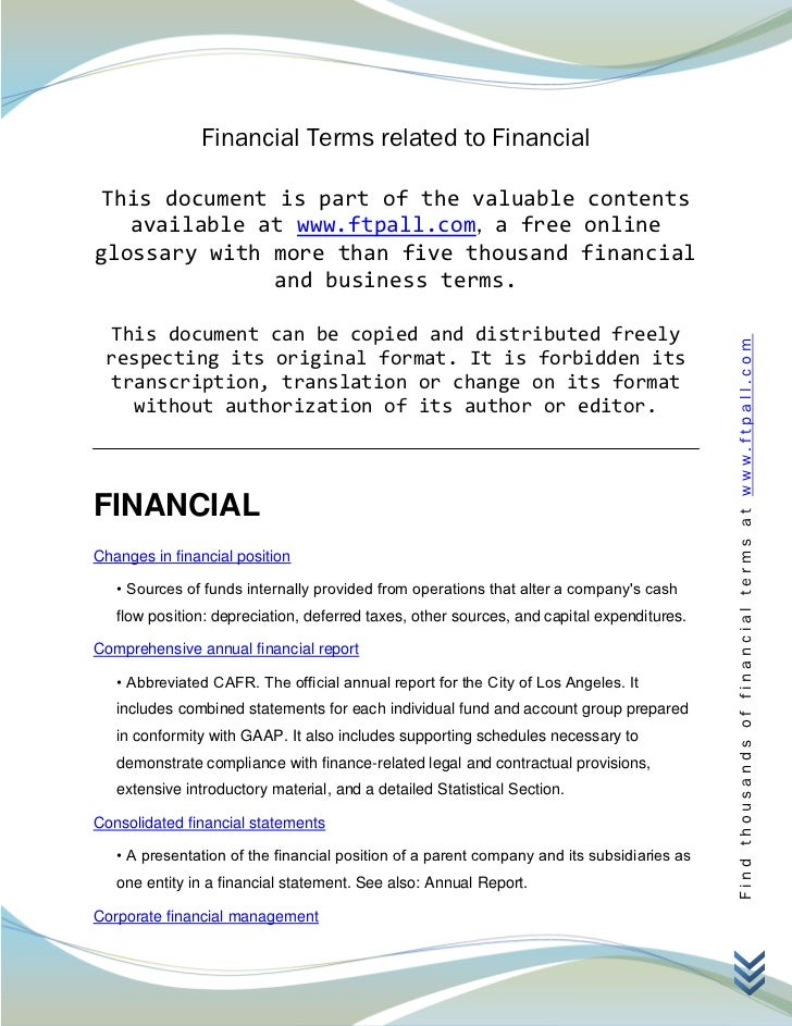 Financial Terms related to Financial This document is part of the valuable contents   available at www.ftpall.com, a free ...