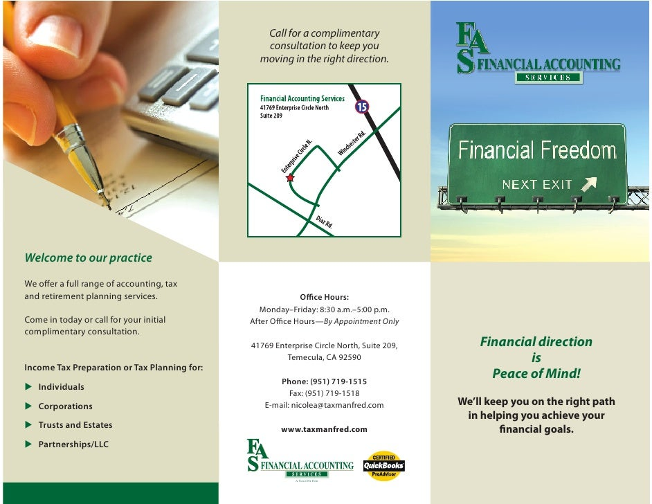 Financial Accounting Services in Temecula Call 951-719-1515
