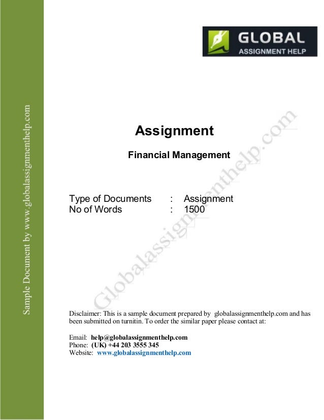 finance assignment