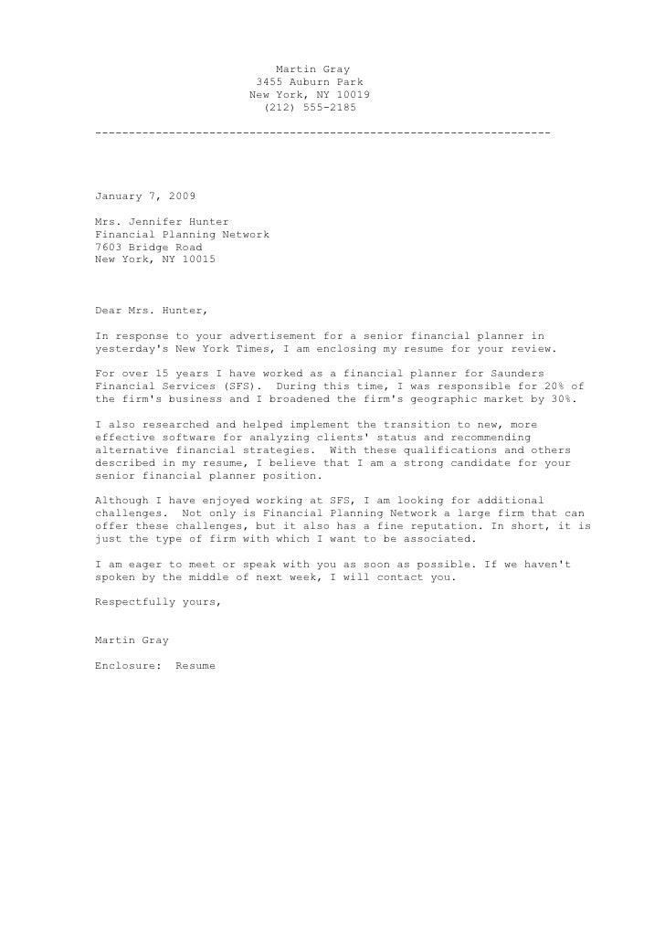 Financial Planner Letter
