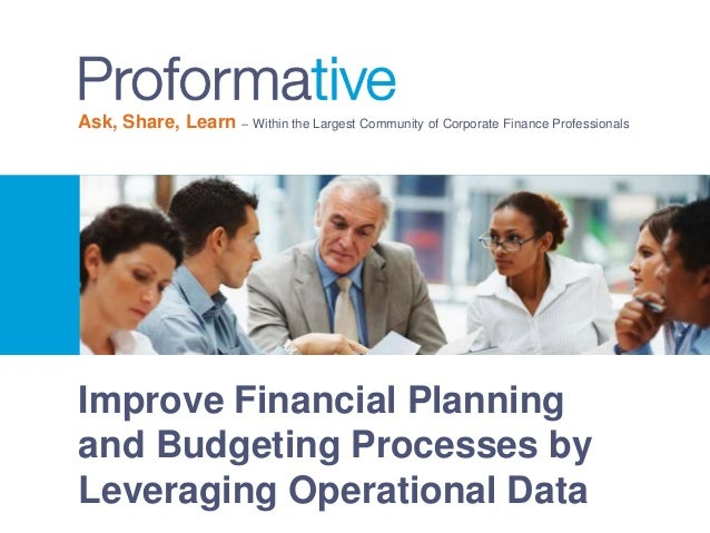 Improve Financial Planning and Budgeting Processes by Leveraging Operational Data