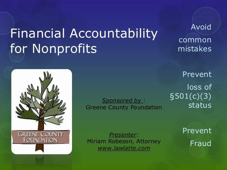 Financial accountability for nonprofits 2012