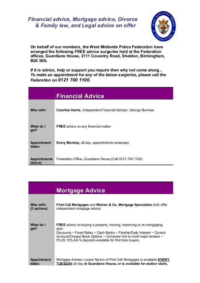 Financial Advice  Mortgage Advice  Divorce  Legal Advice