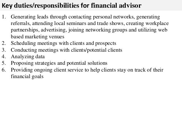 job description for financial advisor