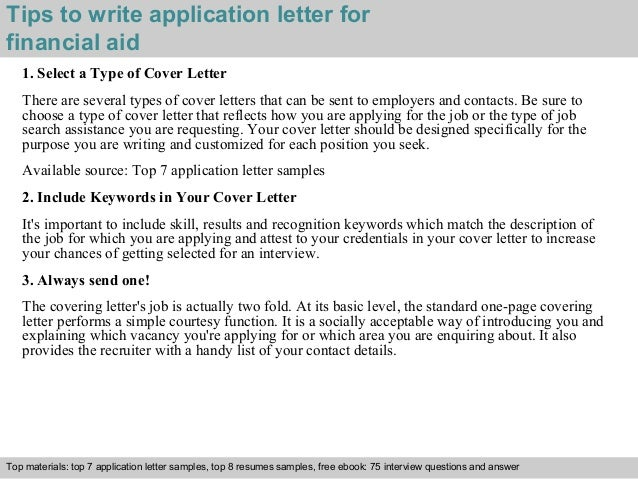 how to write a cover letter for financial aid