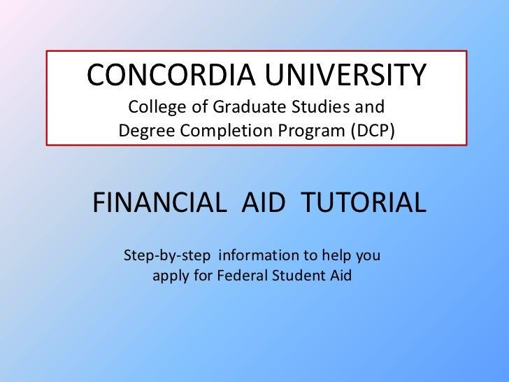 Financial aid tutorial for Concordia University, Nebraska