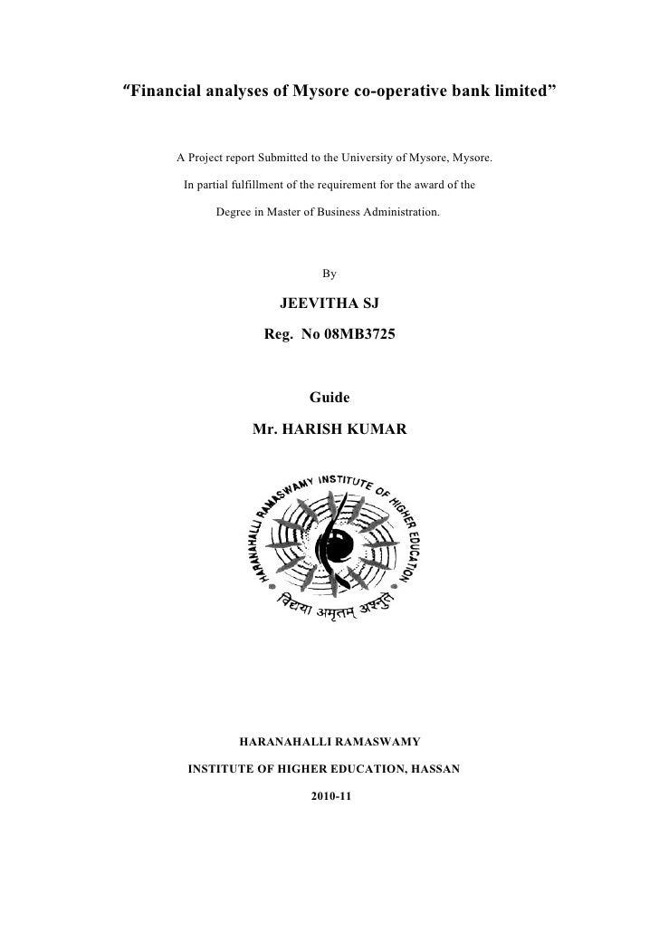 Financial analyses of mysore co