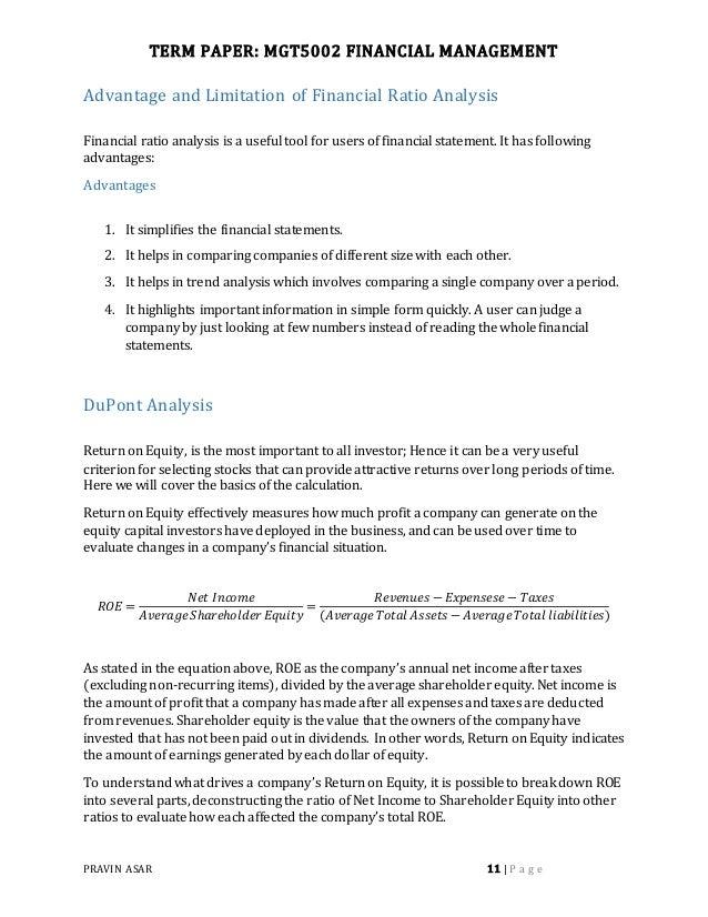 Dissertation On Financial Performance Analysis