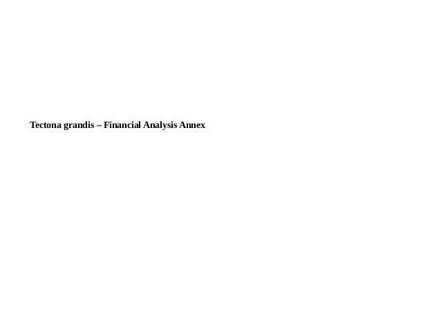 Tectona grandis – Financial Analysis Annex