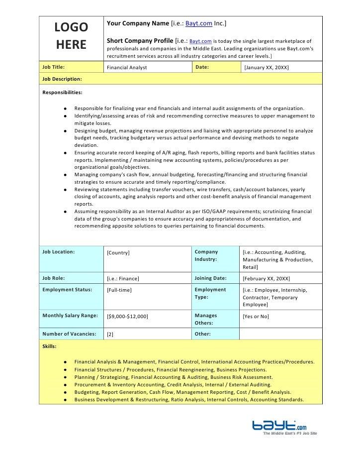 financial analyst job description template by bayt com