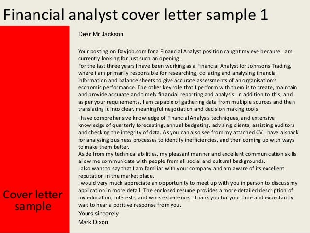 entry financial analyst cover letter