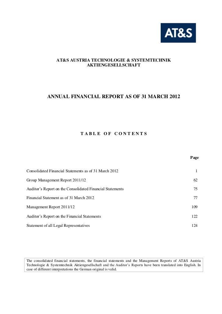 AT&S AUSTRIA TECHNOLOGIE & SYSTEMTECHNIK                             AKTIENGESELLSCHAFT             ANNUAL FINANCIAL REPOR...