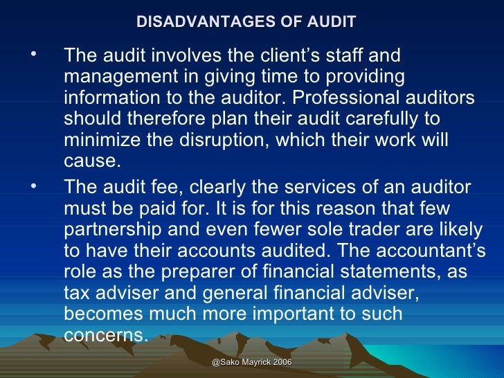 disadvantages of auditing Pdf | to review the literature on the benefits and disadvantages of clinical and medical audit, and to assess the main facilitators and barriers to conducting the audit process.