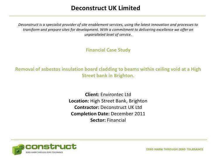 Asbestos Removal London Case Study – Financial
