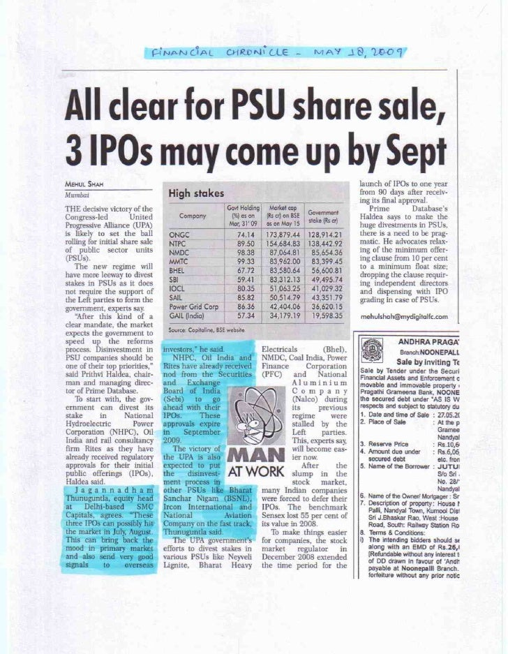 Financial Chronicle May 18 2009_All clear for PSU share sale, 3 IPOs may come up by Sept