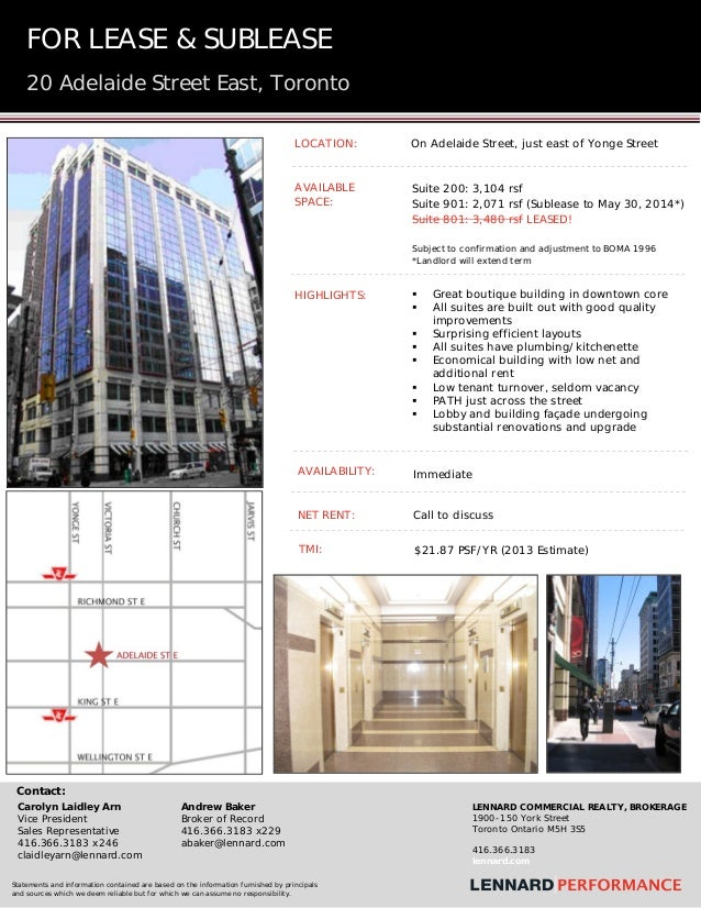 FOR  LEASE & SUBLEASE 20 Adelaide Street East, Toronto     LOCATION:  On Adelaide Street, just east of Yonge Street  A...