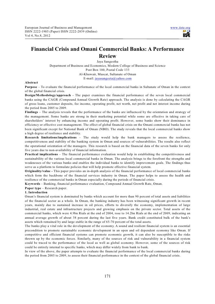 Financial crisis and omani commercial banks