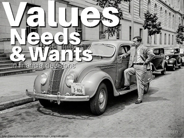 Values, Needs and Wants in Financial Decisions