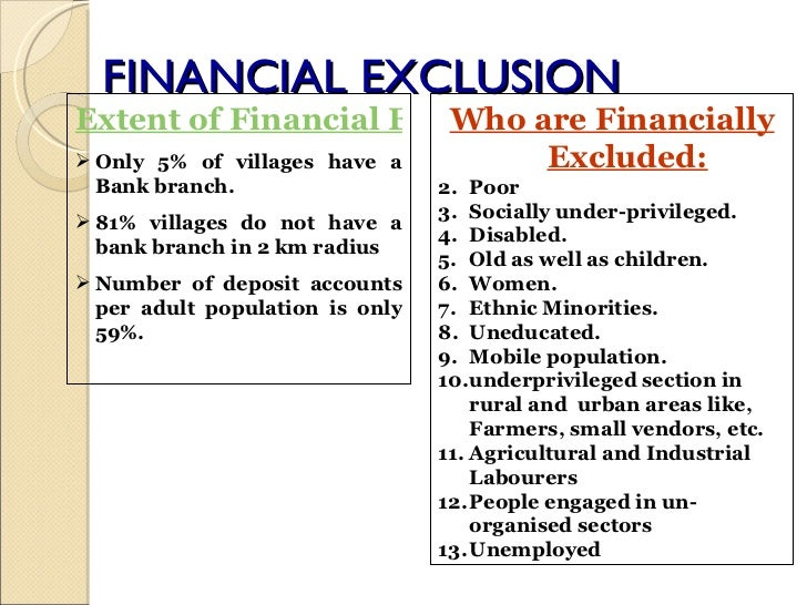reasons for financial inclusion and exclusion What is financial inclusion & importance in india banking and finance concepts banking notes  4 major reasons for lack of financial inclusion.