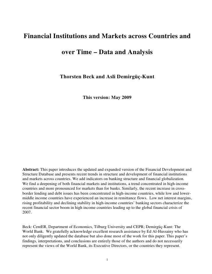 Financial Institutions and Markets across Countries and                       over Time – Data and Analysis               ...