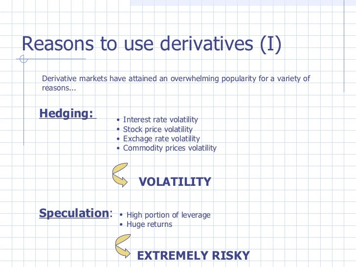 financial derivatives instruments In finance, a derivative is a contract that derives its value from the performance of an underlying  derivatives are one of the three main categories of financial instruments, the other two being stocks (ie, equities or shares) and debt (ie, bonds.