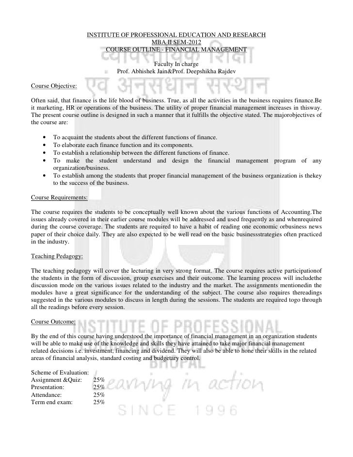 INSTITUTE OF PROFESSIONAL EDUCATION AND RESEARCH                                        MBA II SEM-2012                   ...