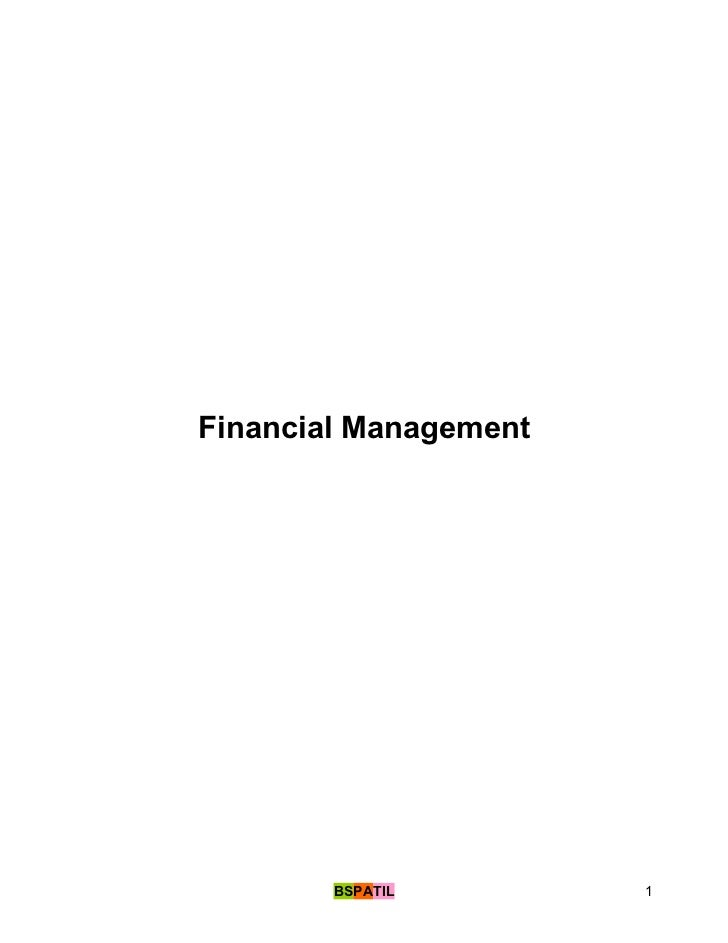 Financial Management        BSPATIL        1