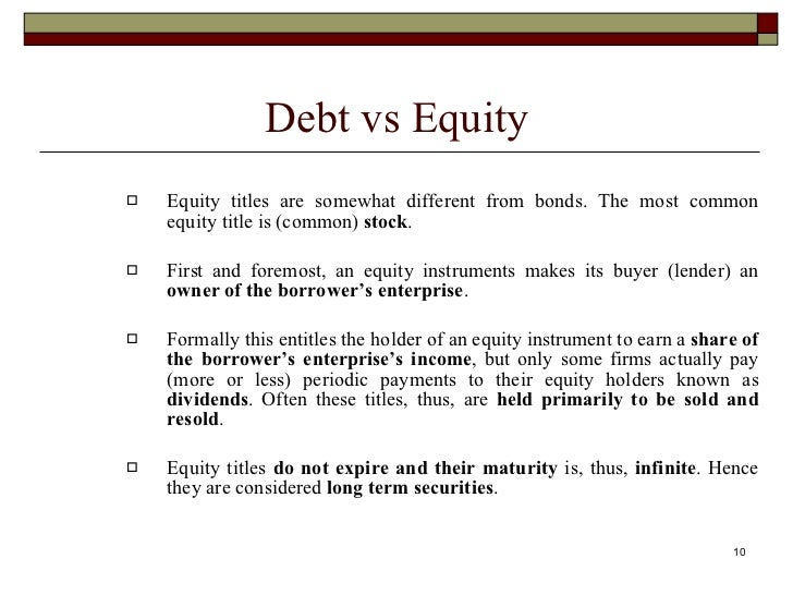 debt vs equity financing paper Firm decides on the capital stack of various types of debt and equity she will use  to finance her firm's assets  in a related paper, cole (2009) analyzes  differences  the results of a test for significant differences in proportions of  corps vs.