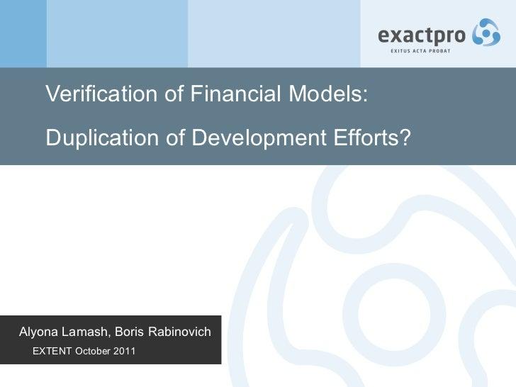Verification of Financial Models