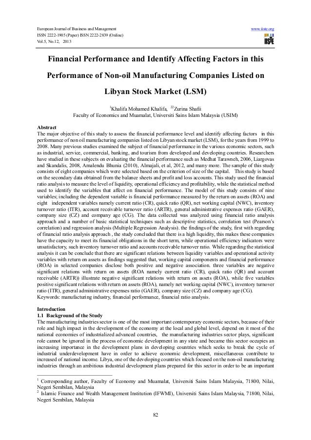 Financial performance and identify affecting factors in this performance of non oil manufacturing companies listed on libyan stock market (lsm)